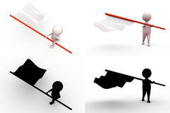 3d man with white flag concept collections with alpha and shadow channel Royalty Free Stock Photos