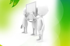 3d man white poster  illustration Royalty Free Stock Images