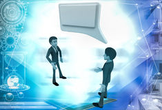 3d man with whitle chat illustration Royalty Free Stock Images
