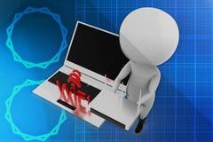 3d man wifi illustration Stock Images