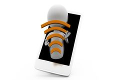 3d man wifi phone concept Royalty Free Stock Photo