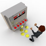 3d man win on rolling casino machine concept Stock Image