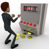3d man win on rolling casino machine concept Stock Photography