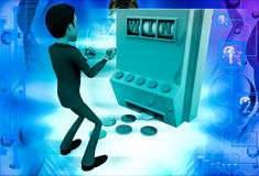3d man win on rolling casino machine illustration Stock Images