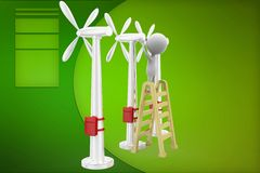 3d man windmill illustration Royalty Free Stock Images