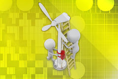 3D man windmill illustration Royalty Free Stock Photo
