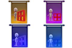 3d man with window icon Royalty Free Stock Images