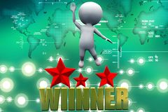 3d man winner illustration Royalty Free Stock Photos