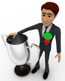 3d man winner with silver cup concept Stock Photo
