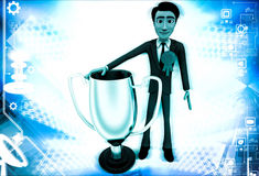 3d man winner with silver cup illustration Stock Images