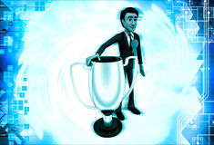 3d man winner with silver cup illustration Royalty Free Stock Photography