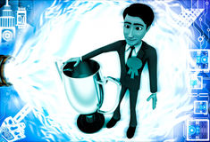 3d man winner with silver cup illustration Stock Photo