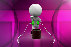 3d man wire connect illustration Stock Photos