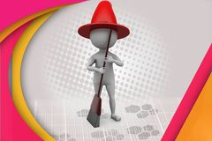 3d man witch illustration Stock Images