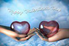 3d man and woman hands holding glass hearts with happy Valentine`s day card vector illustration