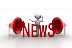 3D man  with word News and megaphone Stock Image