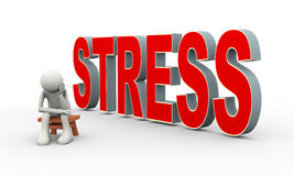 3d man and word stress. 3d illustration of frustrated sad person sitting near word stress. 3d human person character and white people Stock Photos