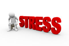 3d man and word stress Stock Images