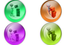 3d man work cube icon Stock Image