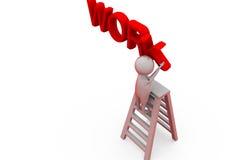 3d man work ladder concept Stock Image