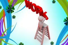 3d man work ladder illustration Royalty Free Stock Photo