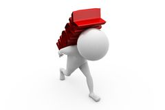 3d man work load concept Royalty Free Stock Image