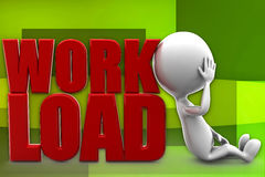 3d man work load illustration Stock Images