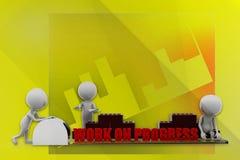 3d man work on progress illustration Stock Photography