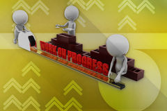 3d man work on progress illustration Stock Photo