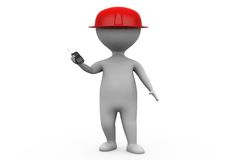 3d man worker with cap concept Royalty Free Stock Photo