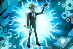 3d man worker with hammer  illustration Royalty Free Stock Photos