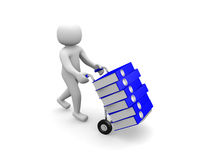 3D man -worker pushing a hand truck with files Royalty Free Stock Photo