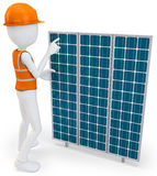 3d man worker with solar panel Royalty Free Stock Images