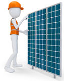 3d man worker with solar panel Stock Image