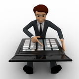 3d man working and calculate on calculator concept Royalty Free Stock Images