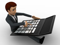 3d man working and calculate on calculator concept Stock Photo