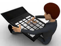 3d man working and calculate on calculator concept Royalty Free Stock Photography