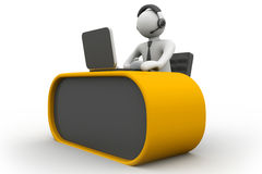 3D man working in a call center Stock Images