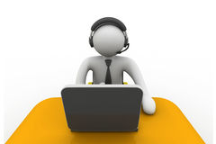 3D man working in a call center. On isolated background Royalty Free Stock Photo