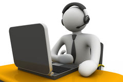 3D man working in a call center Stock Photo