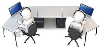 3d man working in a call center. On white background Royalty Free Stock Images