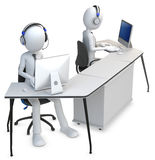 3d man working in a call center. On white background Royalty Free Stock Photos