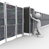 3d man working in computer network server room Royalty Free Stock Images