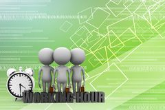 3d Man With Working Hour Illustration Royalty Free Stock Photos
