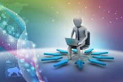 3d man working on laptop. In color background Royalty Free Stock Images