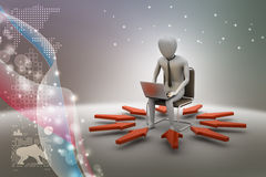 3d man working on laptop. In color background Stock Photo