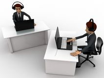3d man working on laptop in office and wear headphone concept Stock Image