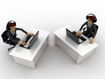 3d man working on laptop in office and wear headphone concept Royalty Free Stock Images