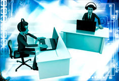 3d man working on laptop in office and wear headphone illustration Stock Image