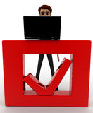 3d man working on laptop and it is placed on red check symbol concept Royalty Free Stock Image